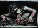 Эскиз тату девушка зомби